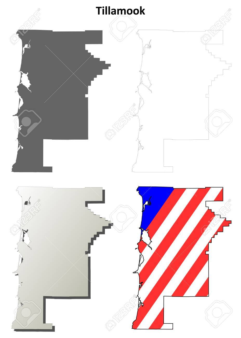 Tillamook County Oregon Blank Outline Map Set Royalty Free Cliparts