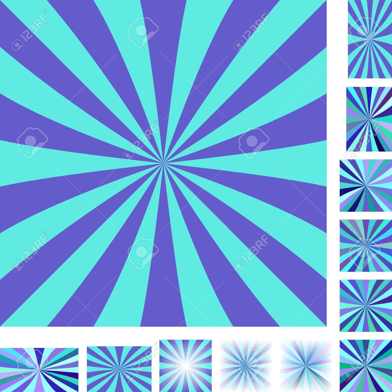 Blue And Cyan Vector Ray Burst Design Background Set. Different ...