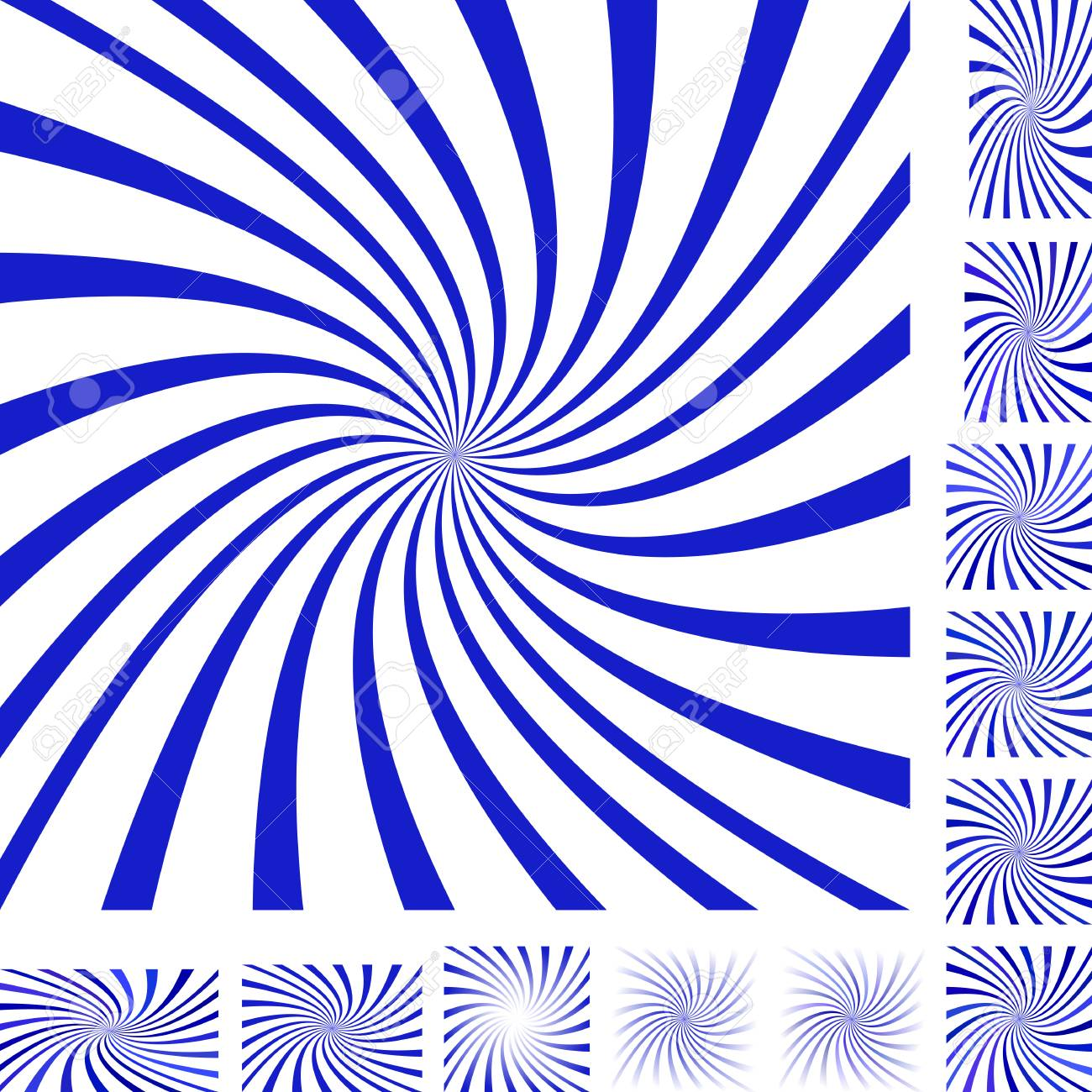Blue And White Vector Spiral Design Background Set. Different ...