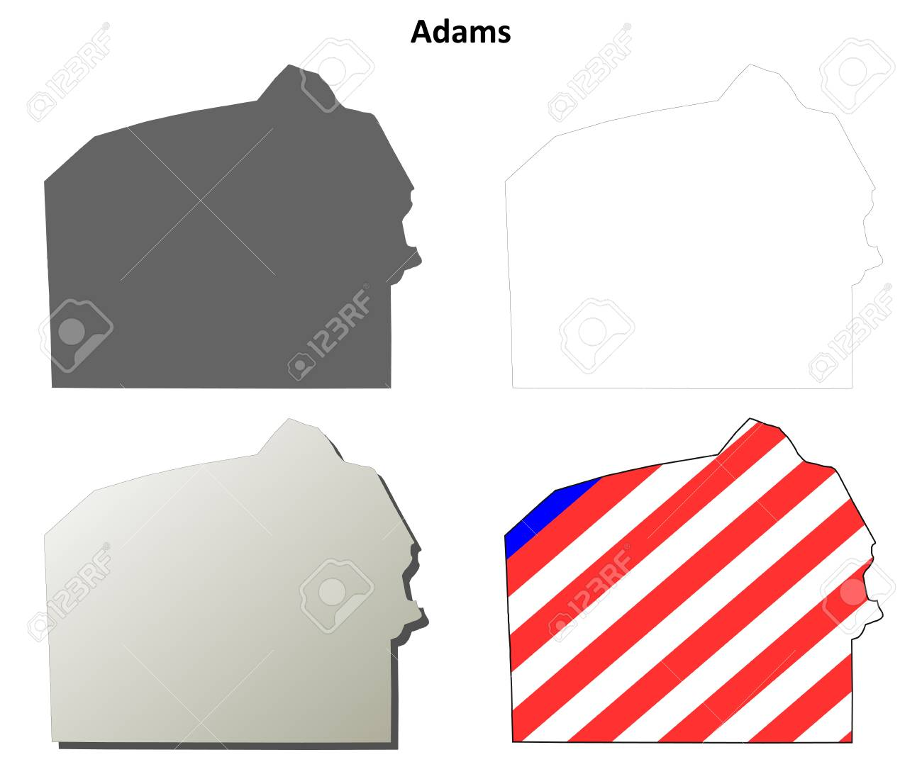 Image of: Adams County Pennsylvania Blank Outline Map Set Royalty Free Cliparts Vectors And Stock Illustration Image 56393486