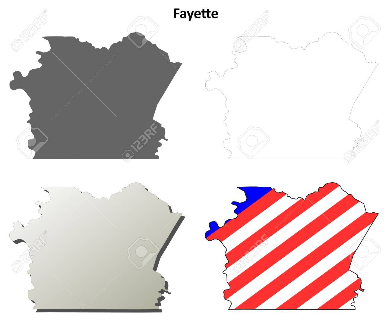 Image of: Fayette County Pennsylvania Blank Outline Map Set Royalty Free Cliparts Vectors And Stock Illustration Image 56393517