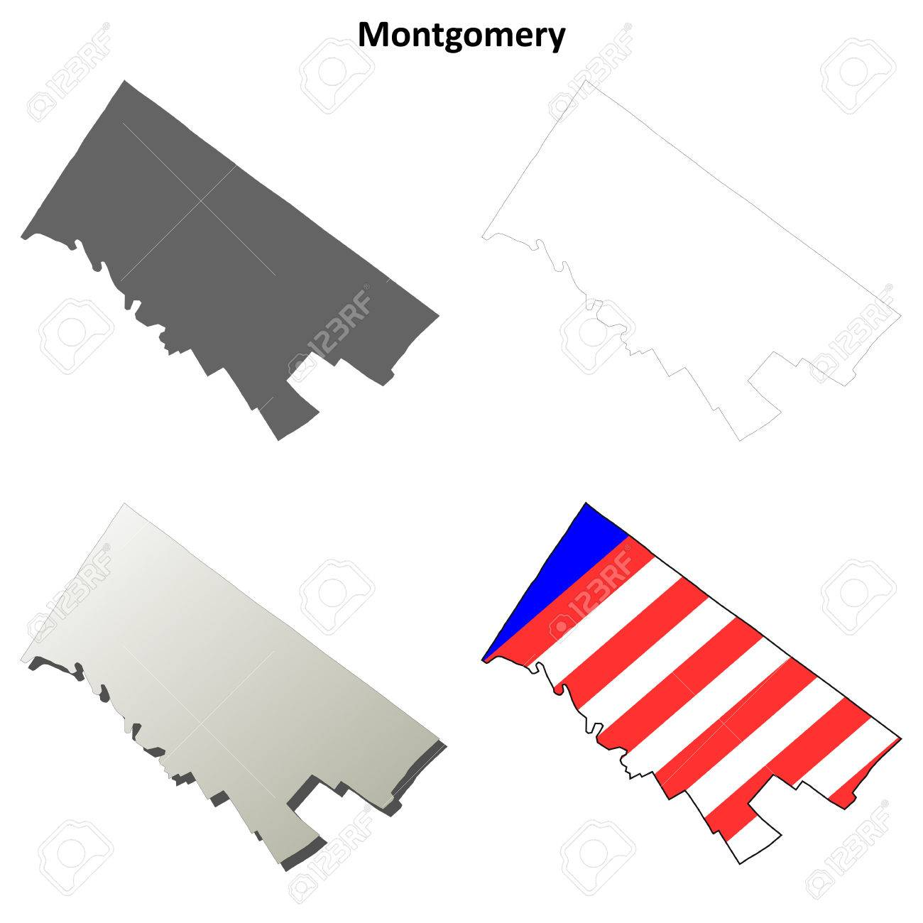 Image of: Montgomery County Pennsylvania Blank Outline Map Set Royalty Free Cliparts Vectors And Stock Illustration Image 56393549
