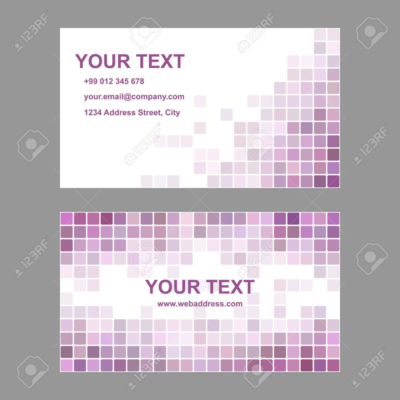 Purple Abstract Business Card Template Background Design From Rounded Squares Stock Vector