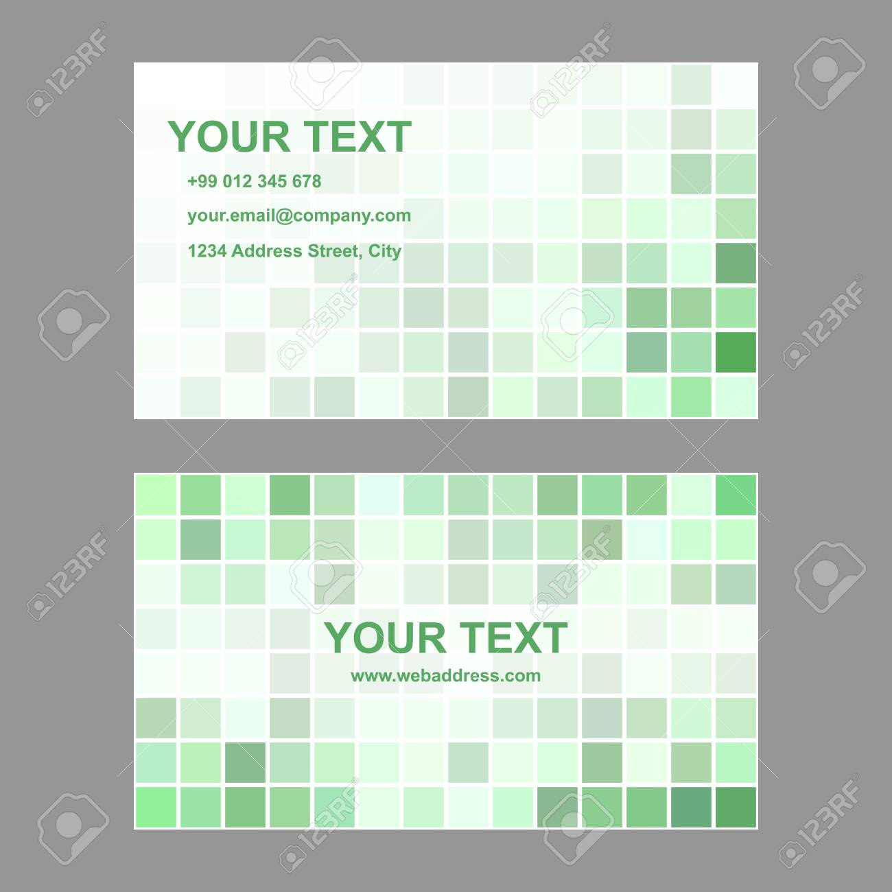 green abstract square design business card template royalty free