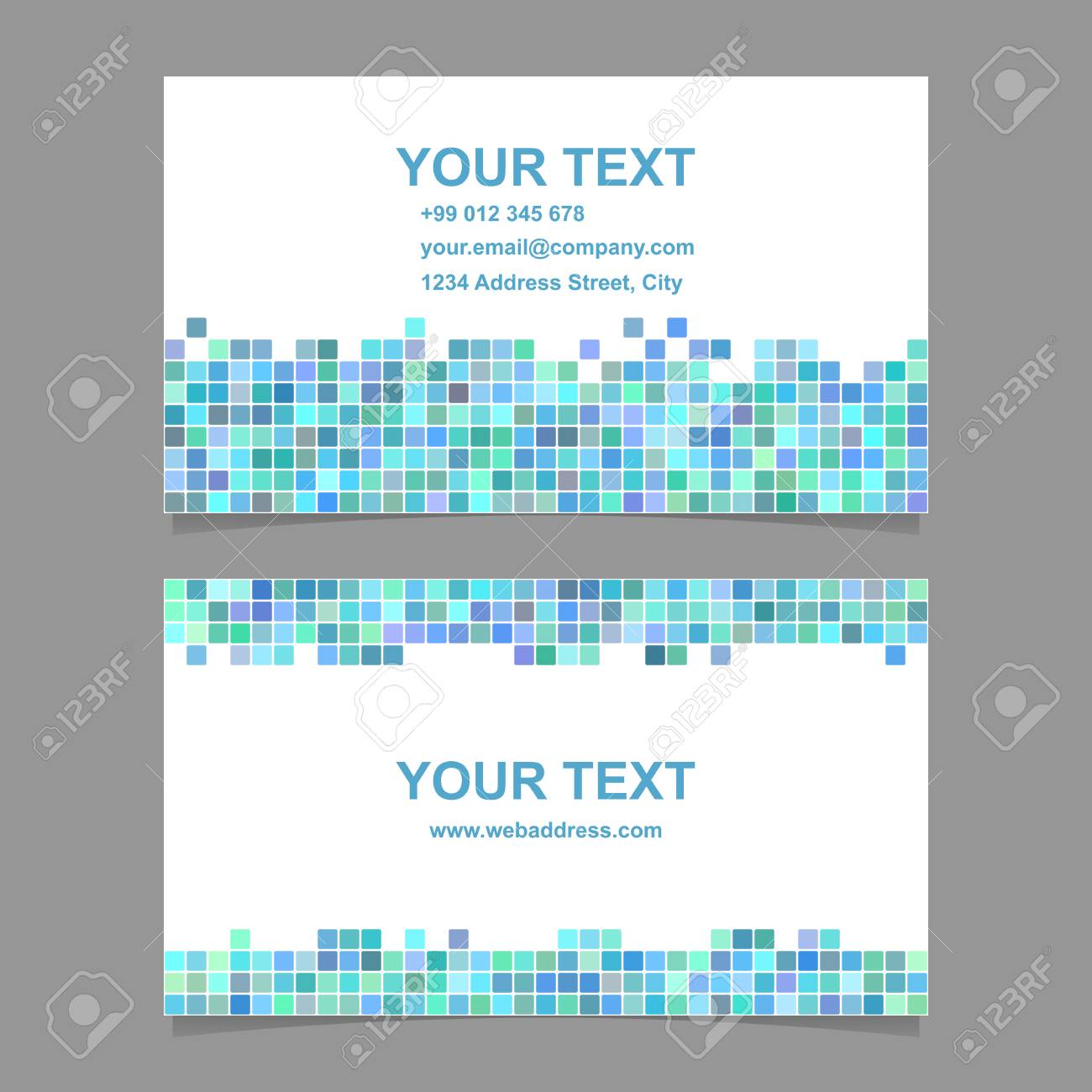 green blue square mosaic business card template designs royalty free