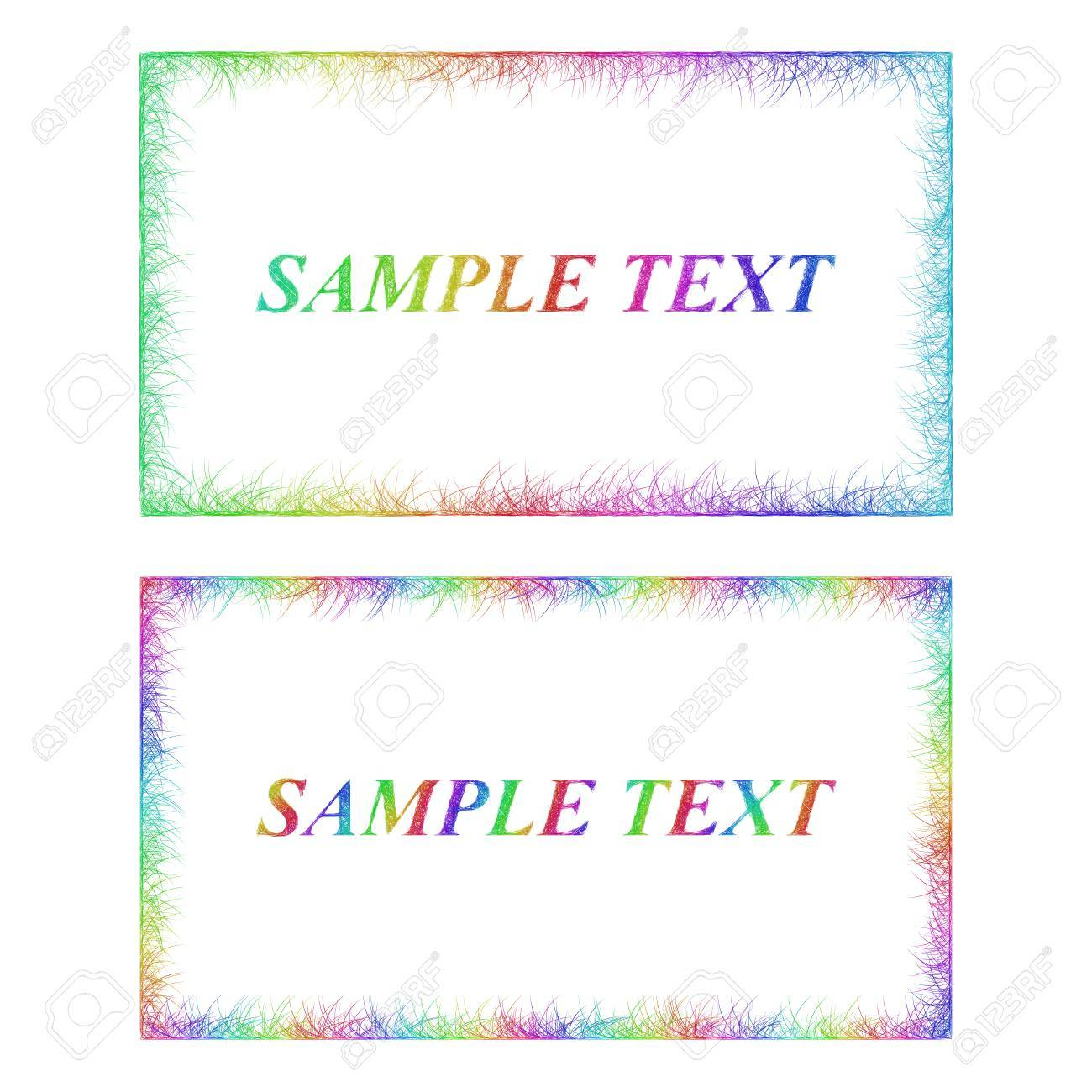 Sketch Business Card Border Templates In Happy Rainbow Colors