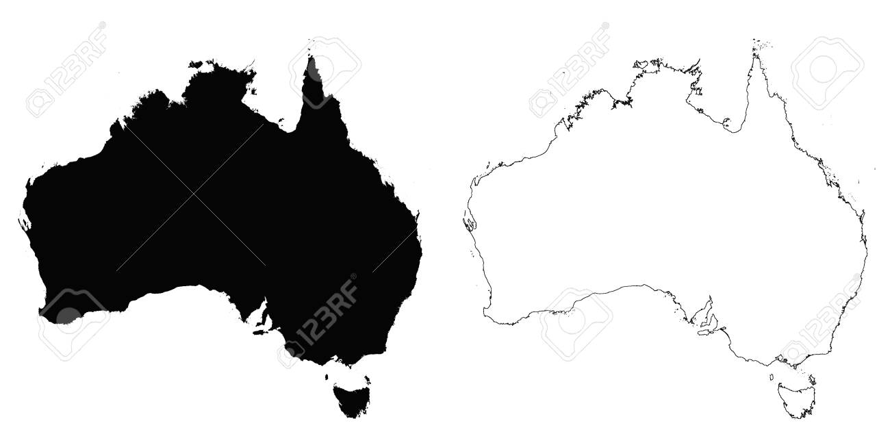australia outline map detailed isolated vector country border contour maps of australia on white background