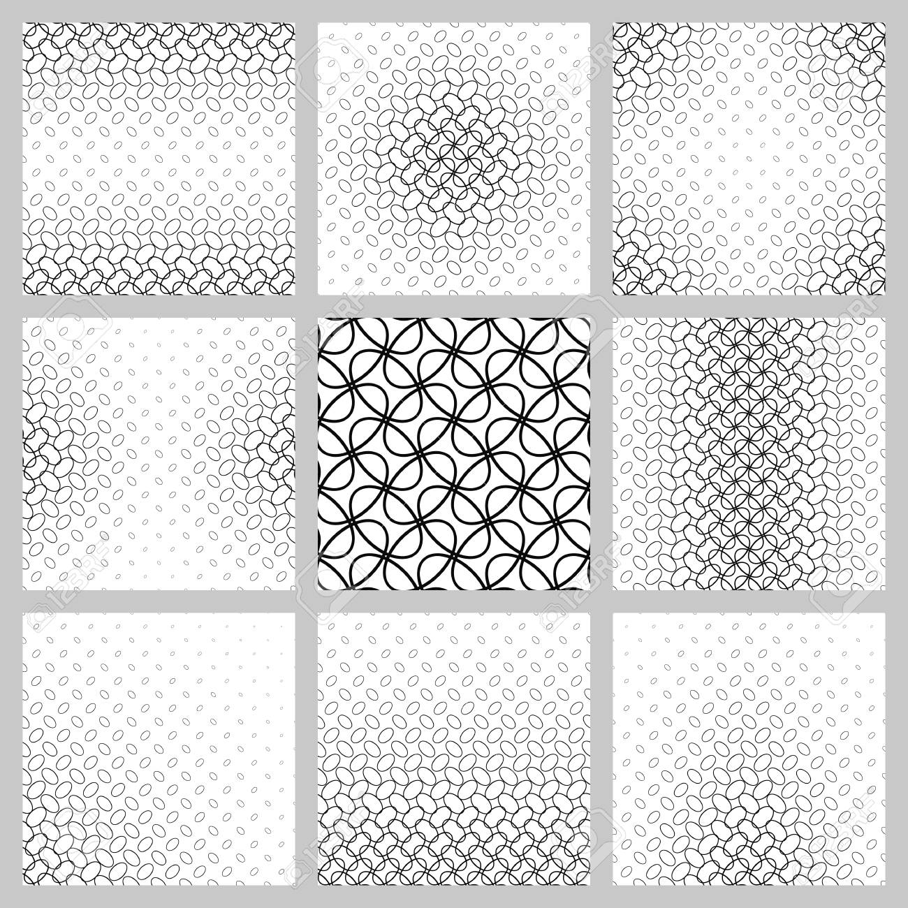 Black And White Ellipse Pattern Design Set. Royalty Free Cliparts ...
