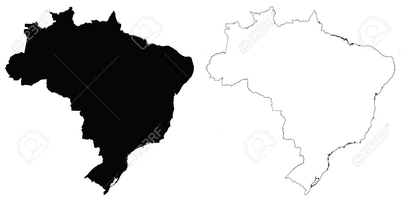 Brazil outline map detailed isolated vector country border brazil outline map detailed isolated vector country border contour maps of brazil on white background gumiabroncs Image collections