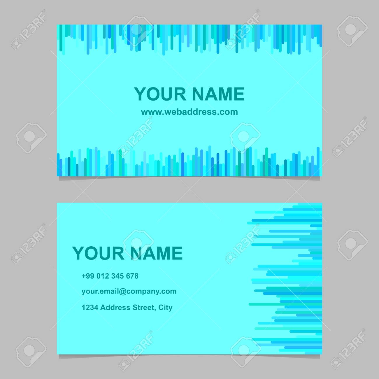 Modern business card template design set vector corporation banco de imagens modern business card template design set vector corporation graphic with rounded stripes in cyan tones reheart Image collections