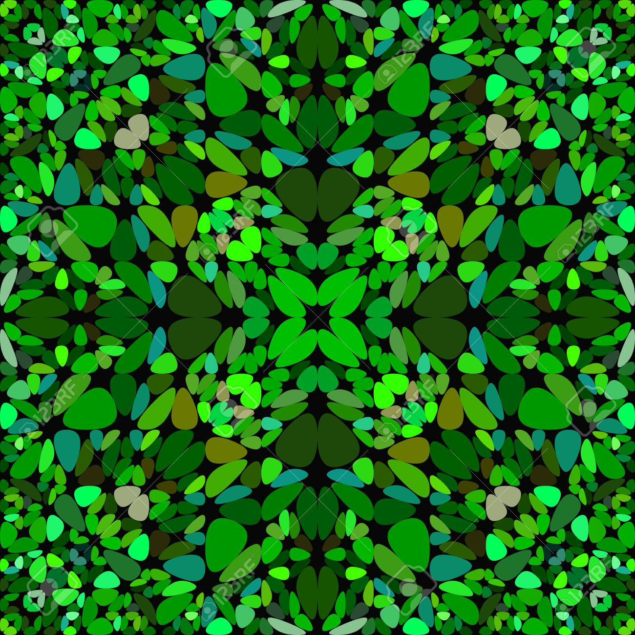 Green Abstract Repeating Floral Ornate Pattern Wallpaper Geometric Vector Graphic Design
