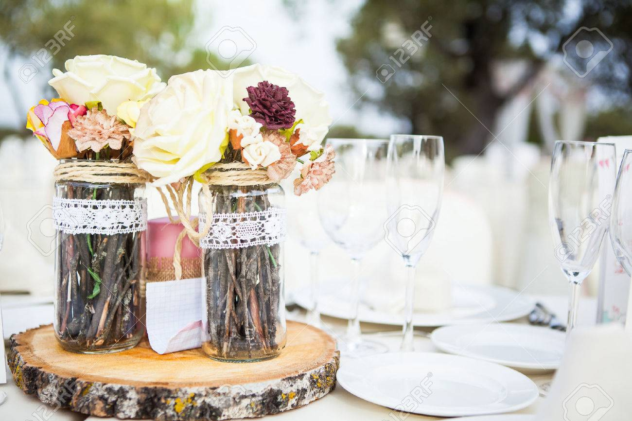 Wedding Lunch Table With Ornament Decor. Stock Photo, Picture And ...