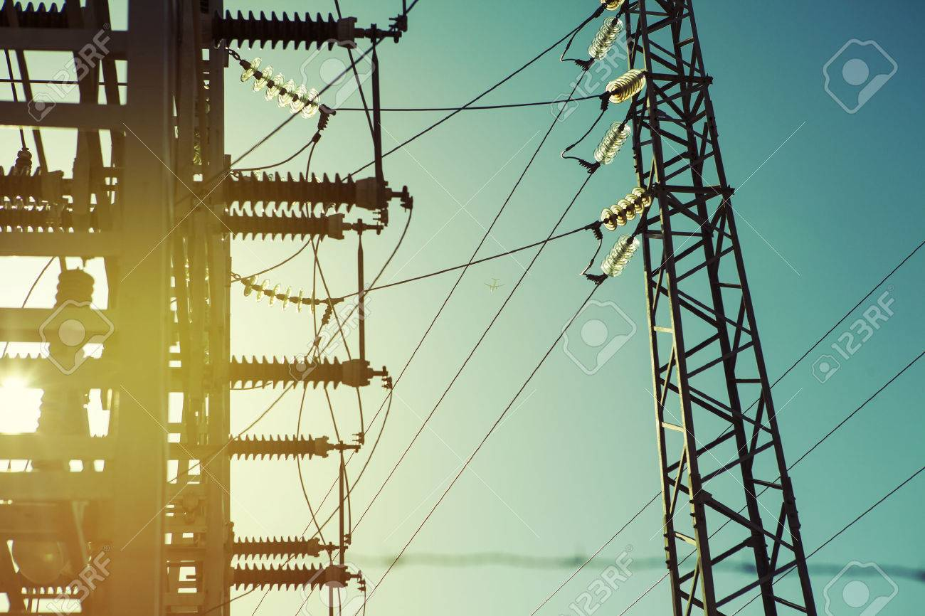 Power electric transformer station close up detail, vintage tone. - 50647150