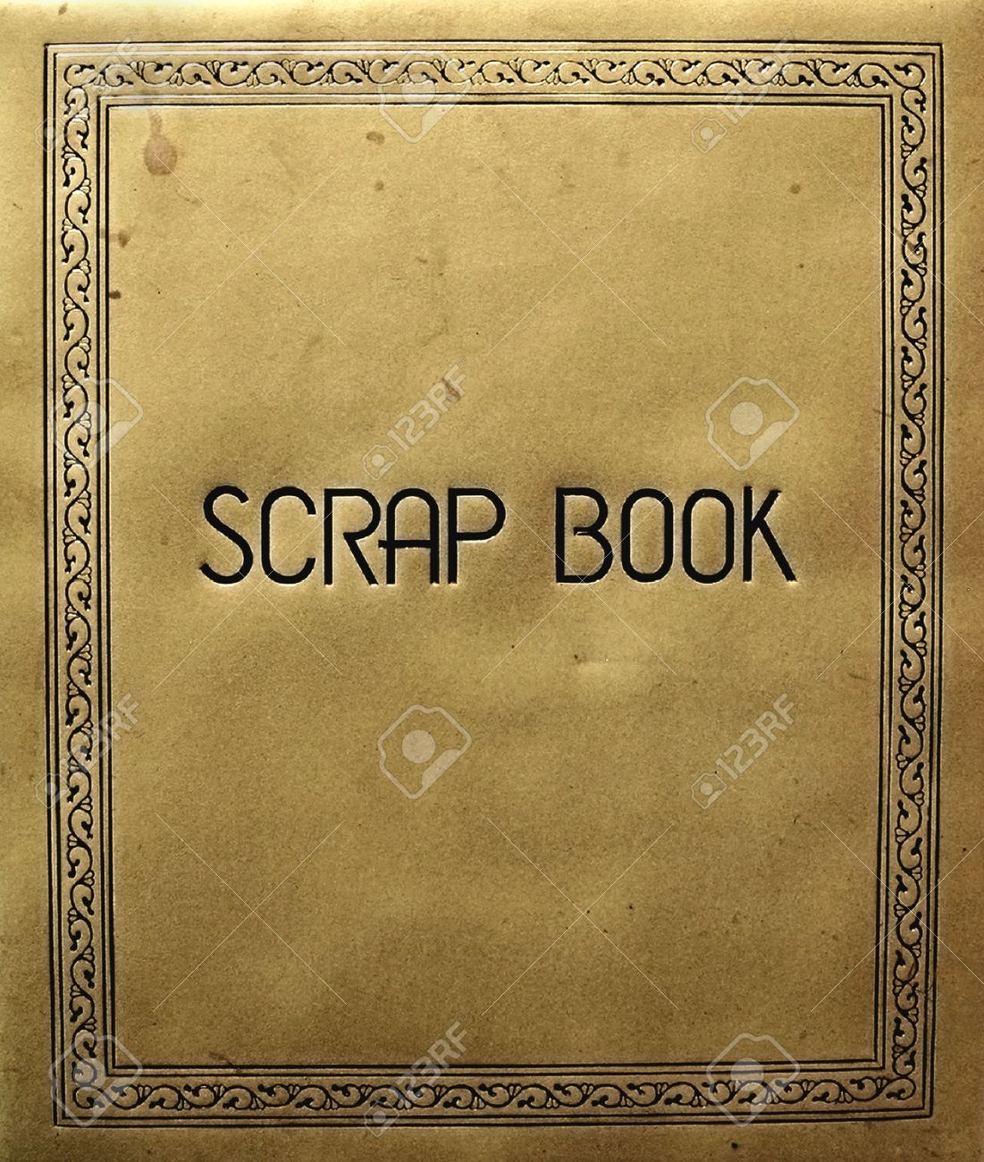 Scrapbook cover - Stock Photo Old Scrapbook Cover