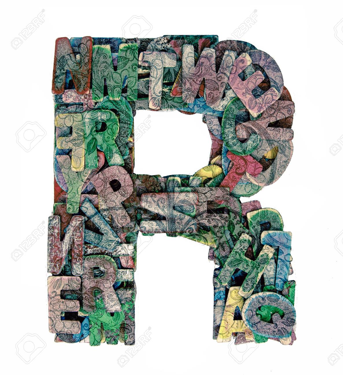 lots of small wooden letters to make up the letter r stock photo 93606990