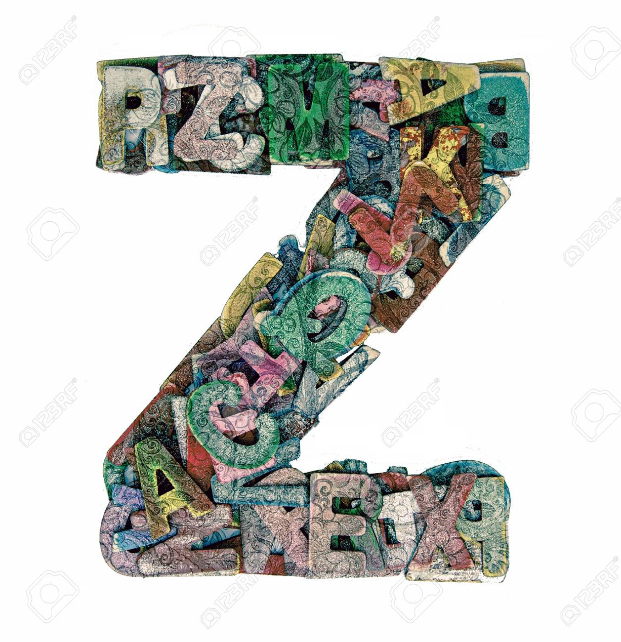 lots of small wooden letters to make up the letter z stock photo 93604823