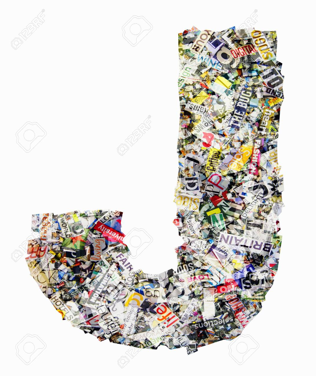 The letter J made from newspaper confetti