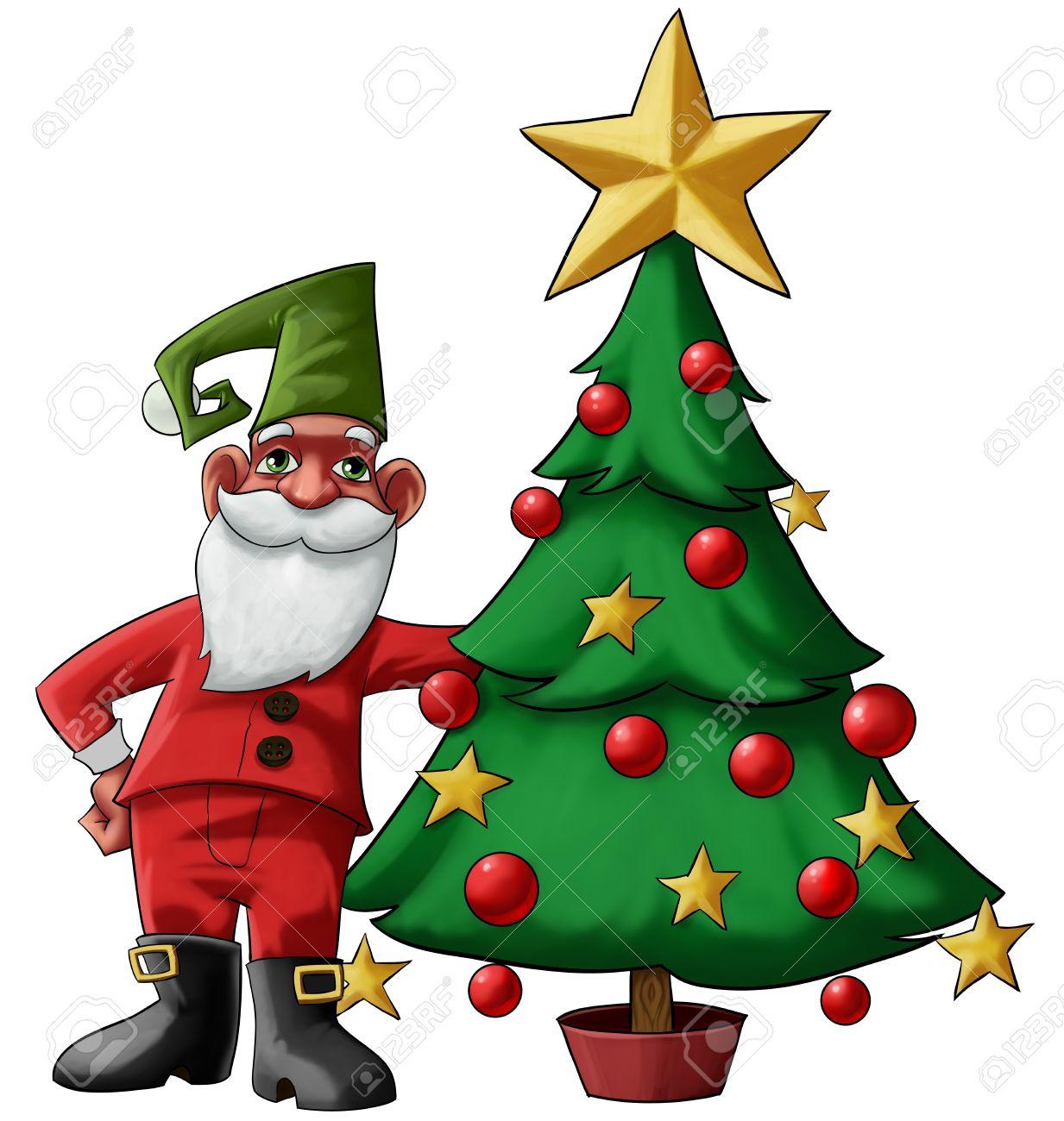 santa claus gnome near to a christmas tree - Santa Claus Tree