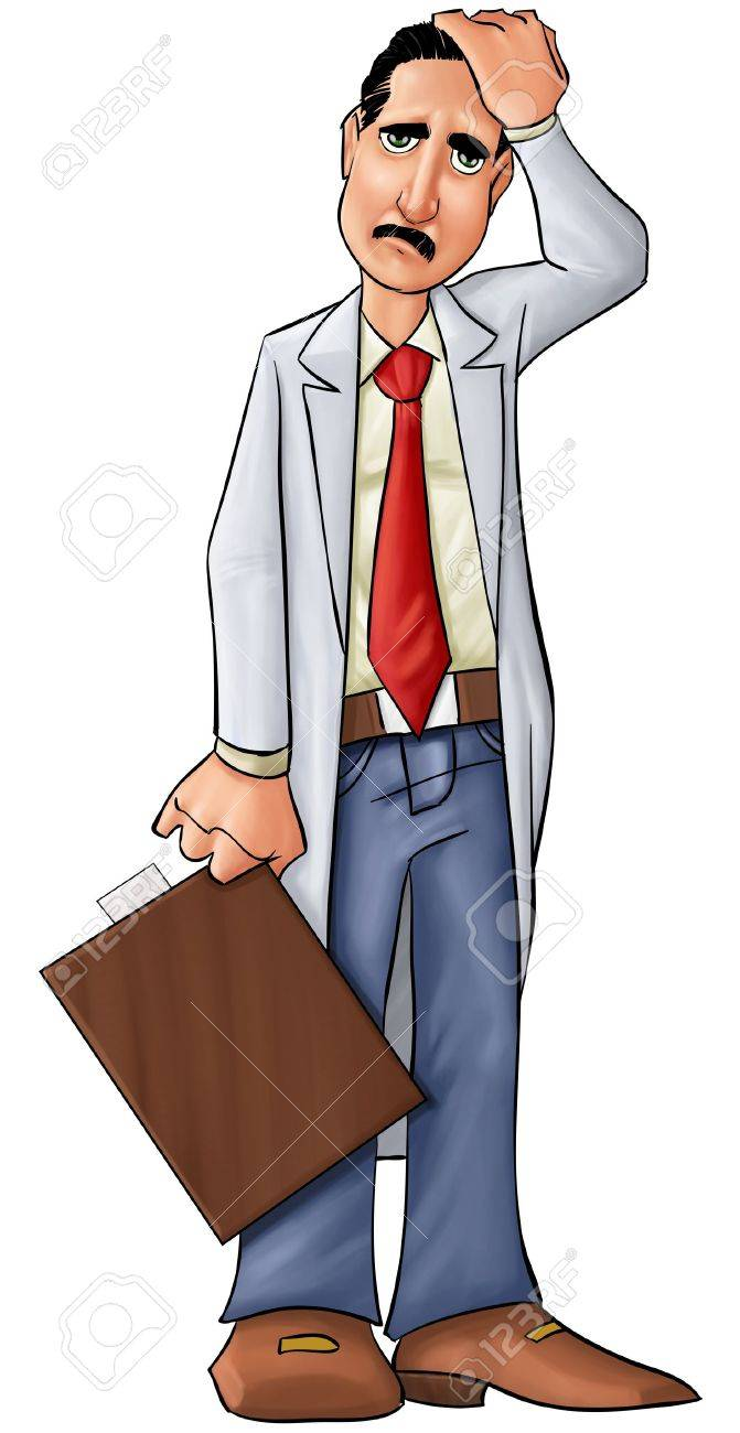 concerned doctor thinking about some problems or medical problems Stock Photo - 9022504