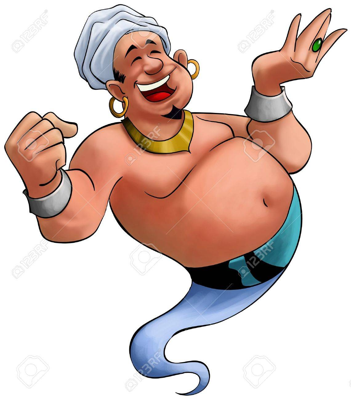 happy fat genie smiley in the moment when he appears Stock Photo - 9022513
