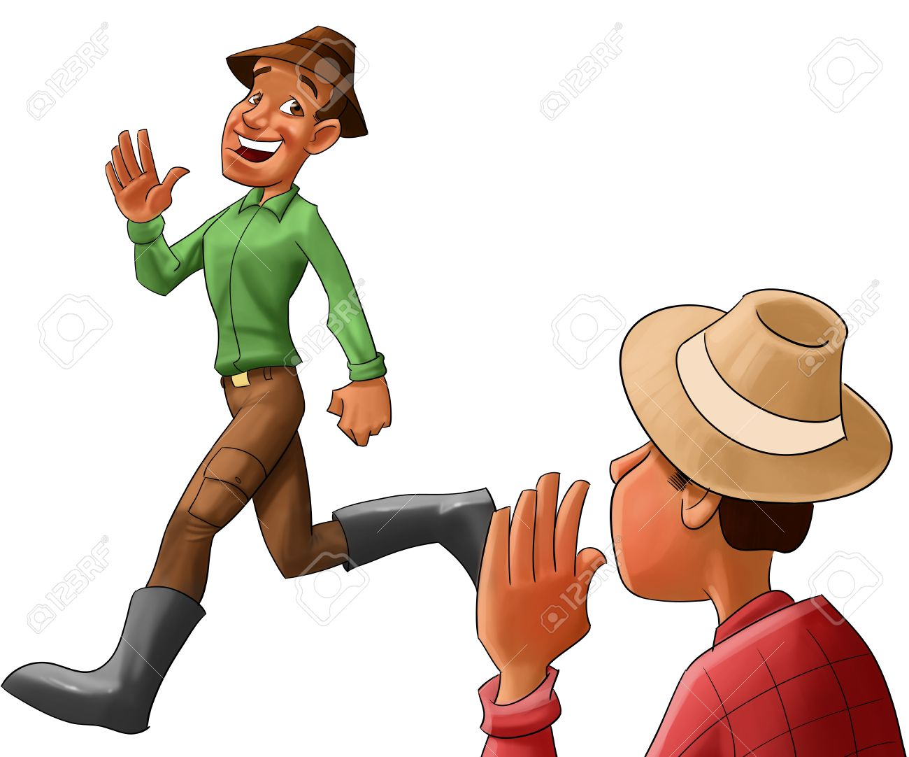 two farmers saying hello to each other stock photo picture and