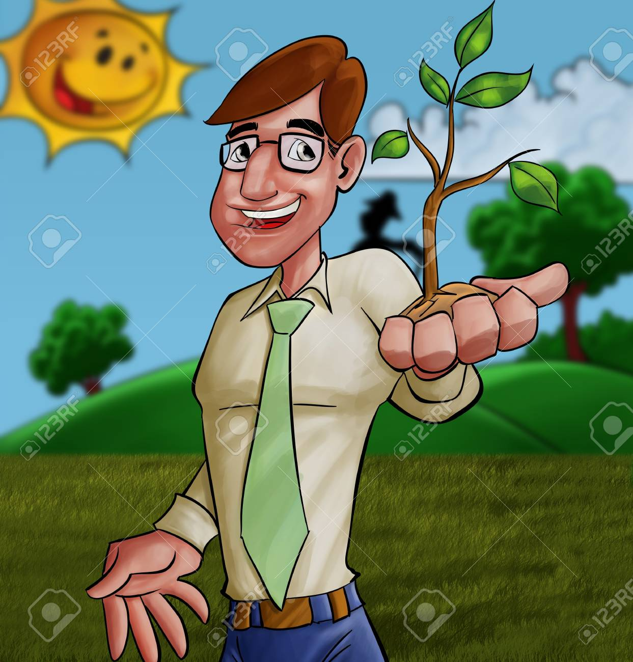 executive with a plant in his hand Stock Photo - 10319091