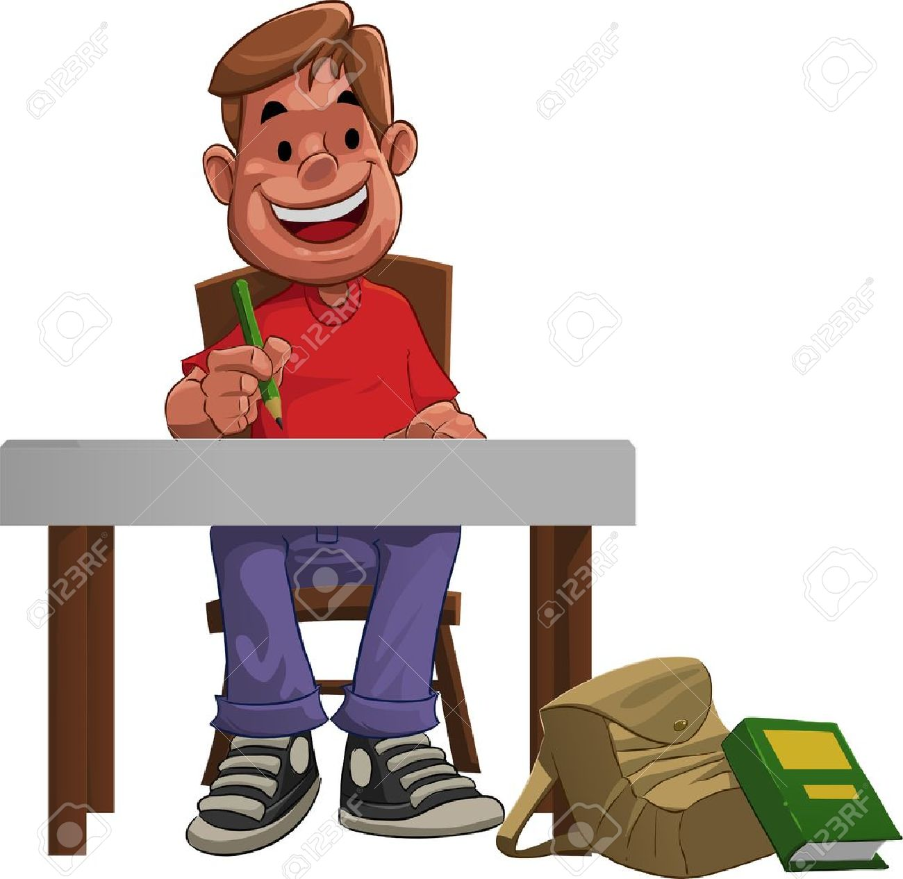 a young hard student doing his home work royalty free cliparts