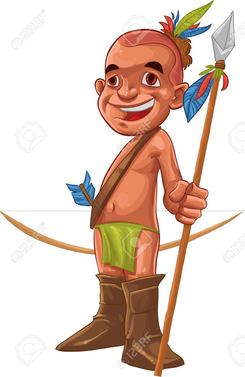 happy and young american native smiling with his spear in the hand Stock Vector - 10715695