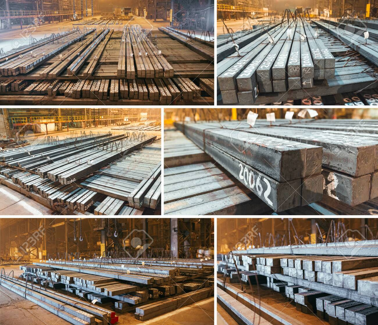 Warehouse metal blank. Electroplating plant for the metal. Collage of pictures - 128596395