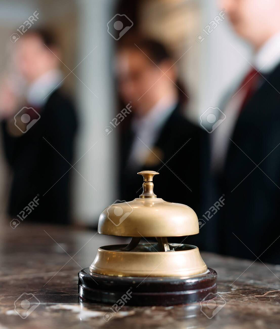 Hotel service bell Concept hotel, travel, room,Modern luxury hotel reception counter desk on background. - 154212485