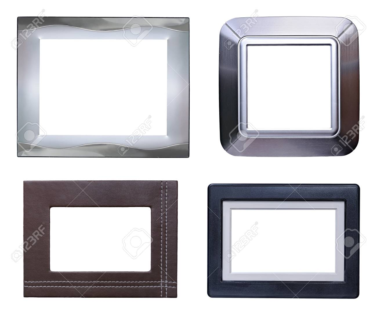 silver modern picture frames. Four Modern Picture Frames Pack,silver,aluminum,leather And Plastic. Stock  Photo Silver N