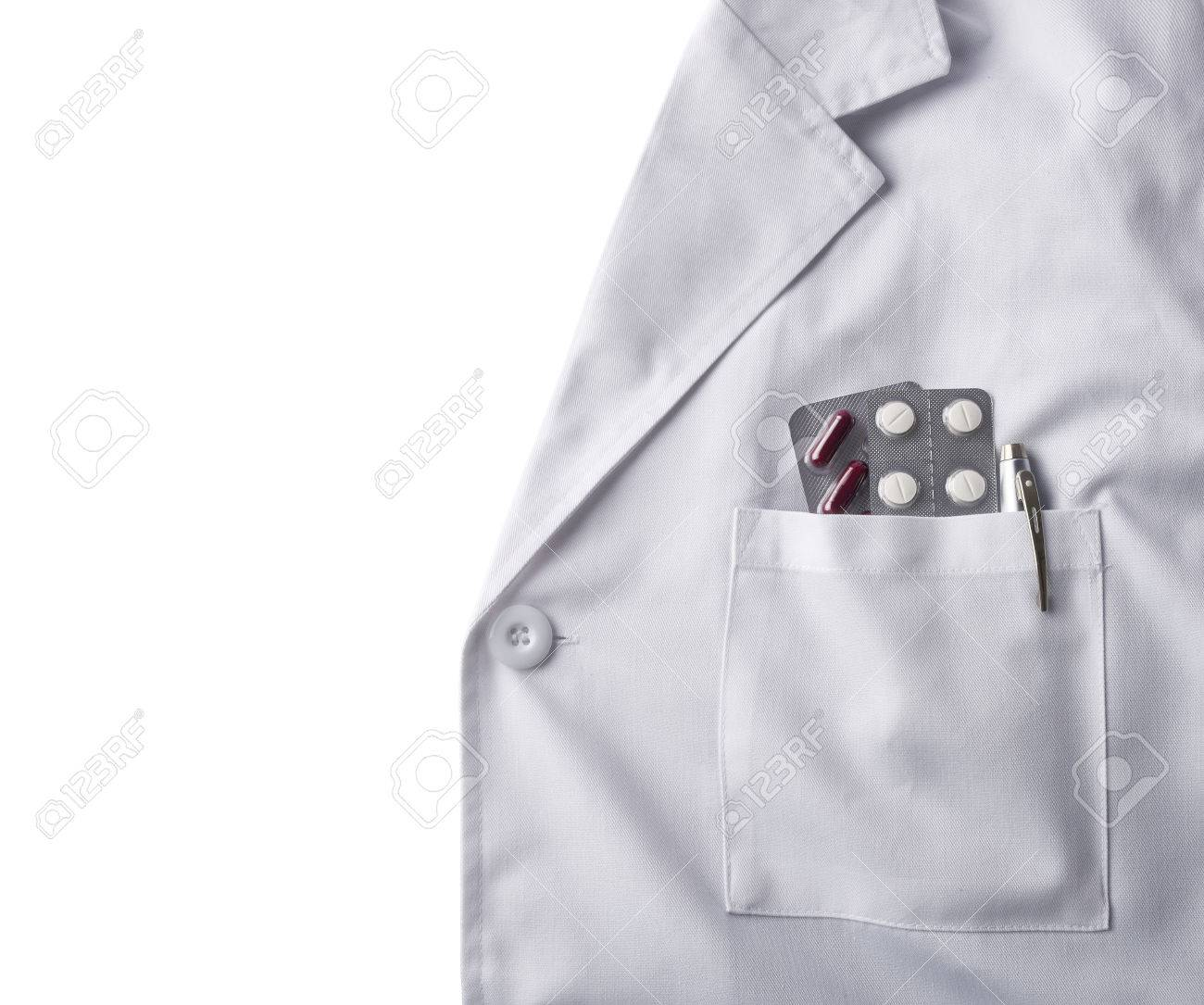 Close Up White Gown Doctor With Pills Blisters And Pen In Pocket ...