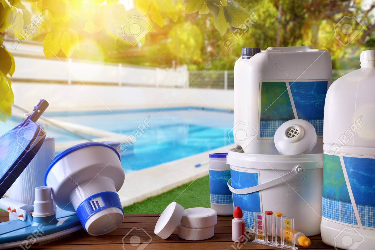 Swimming pool service and equipment with chemical cleaning products..