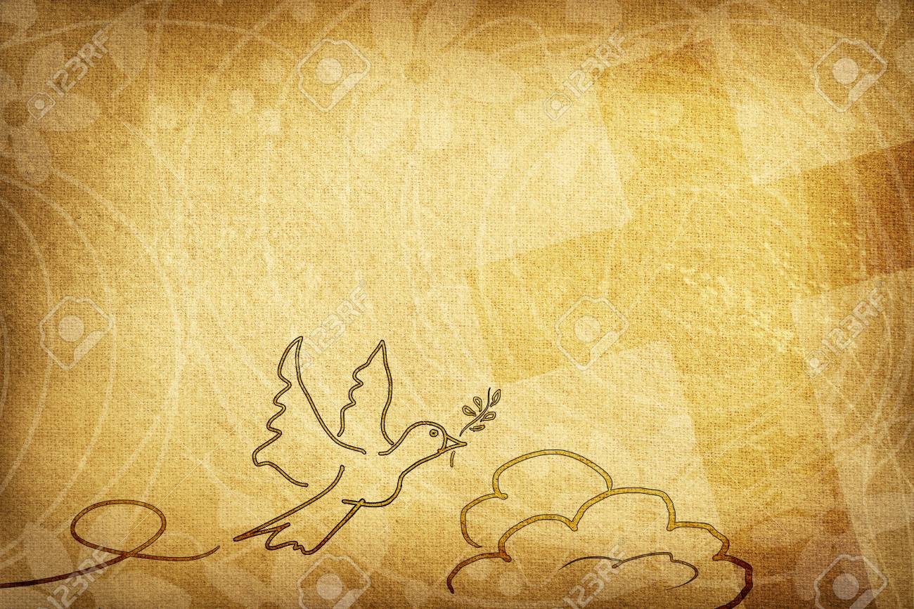 Religious card with brown textured fabric background decorated with dove with olive twig, flowers and cross. - 96211146