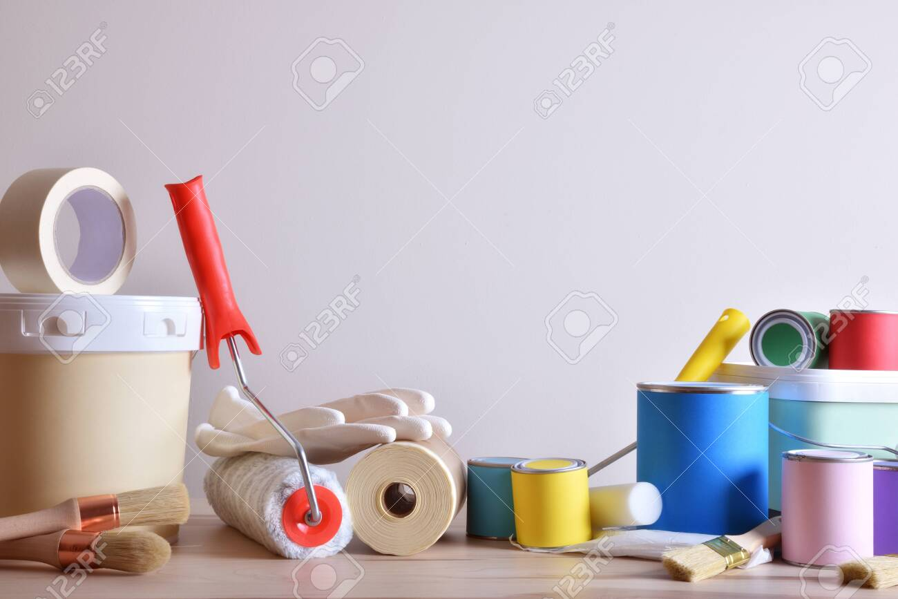 Painting Tools For Wall On Table With White Wall Background
