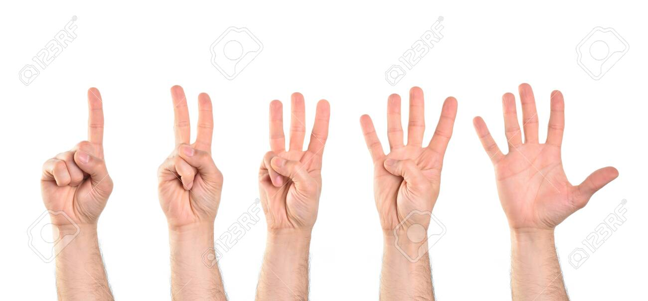 Count to five with five hands starting with the index finger with white isolated background. Horizontal composition. - 143371502