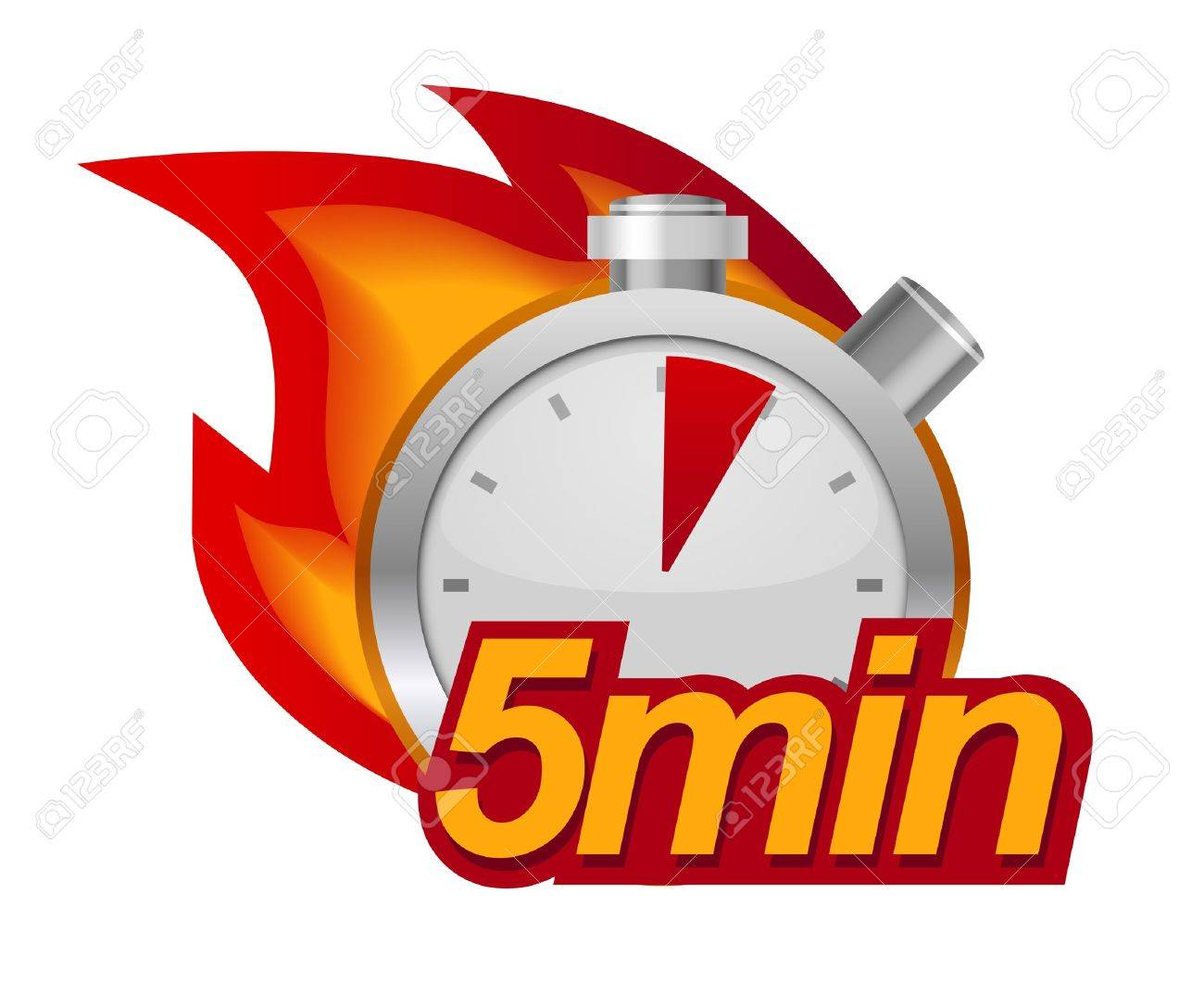 Kitchen Timer Clipart. Kitchen Timer Five Minutes With Fire On Background  Clipart