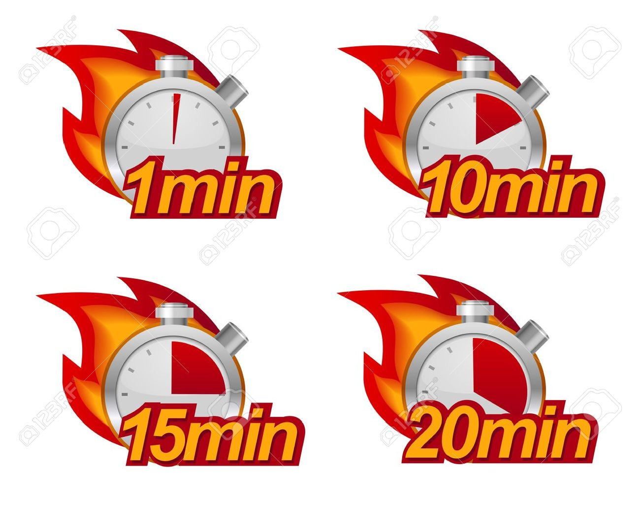 1 minute 10 minutes 15 and 20 minutes timers with fire on