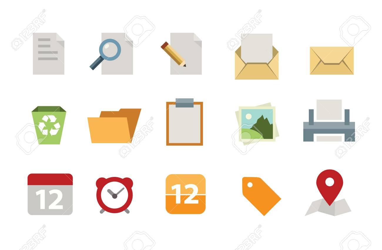Flat document icon set Stock Vector - 20472312