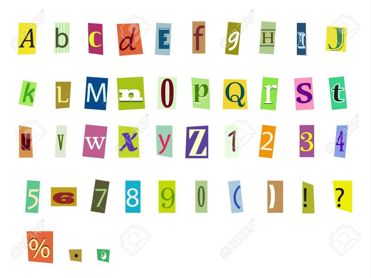Newspaper magazine alphabet with letters and numbers Stock Vector - 20776771
