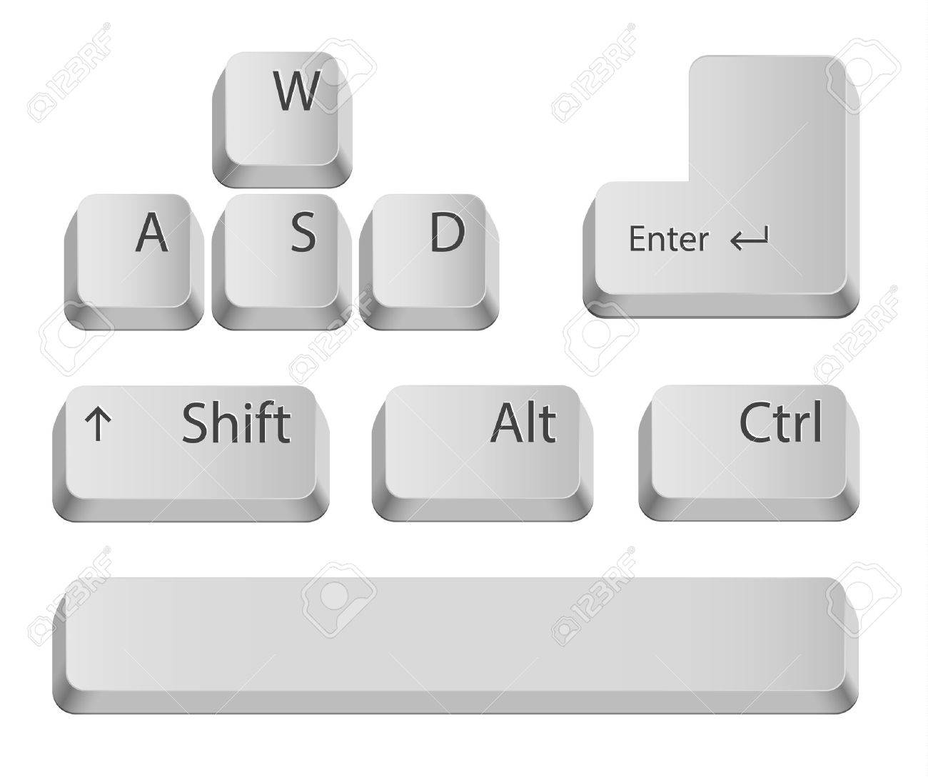 Main keyboard buttons for games or apps  Isolated on white Stock Vector - 20776781