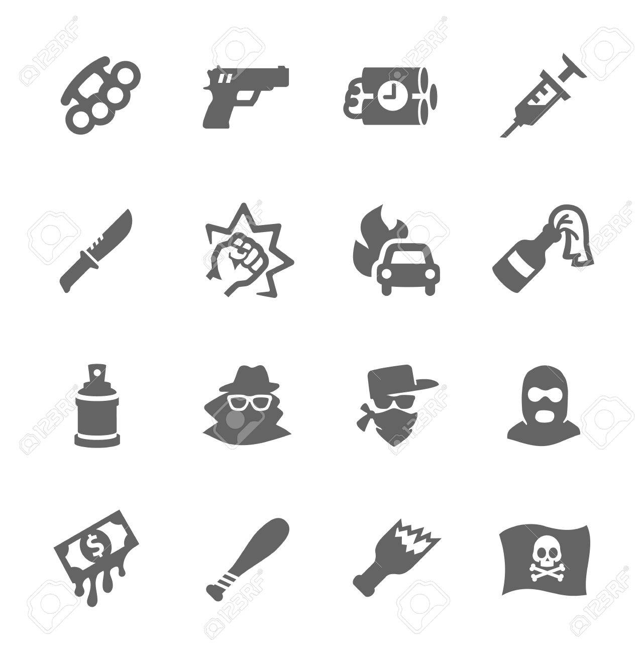 Simple set of crime related vector icons for your design Stock Vector - 23655745