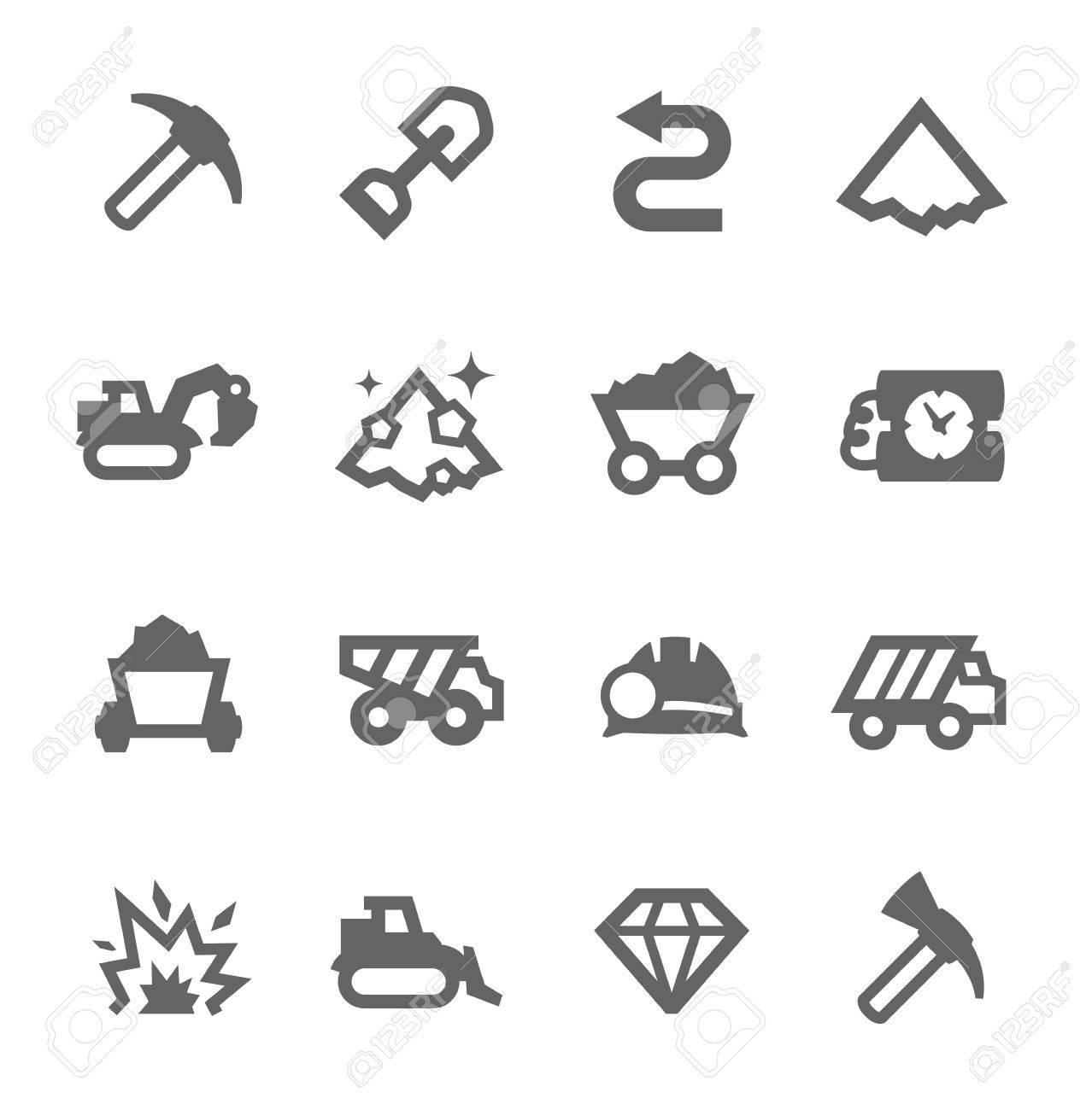 Foto de archivo - Simple conjunto de excavación y relacionadas con la  minería iconos vectoriales para su diseño 7601c4a80b3