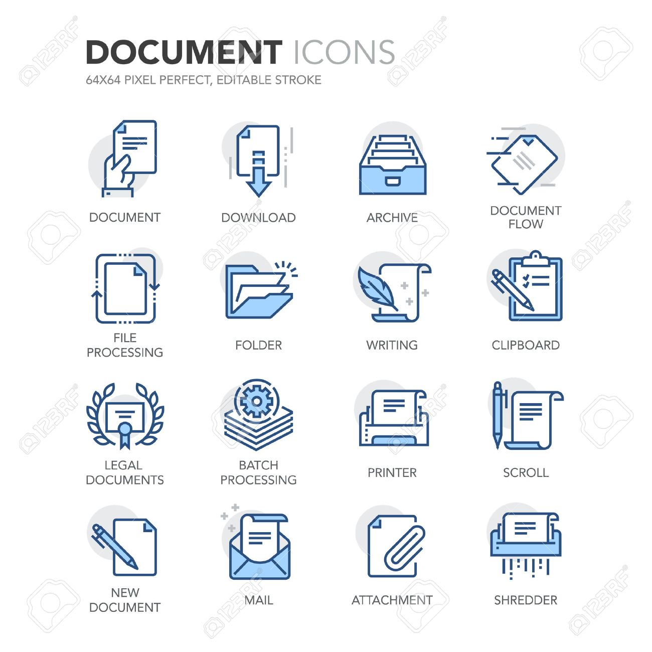 Simple Set of Document Related Color Line Icons. Contains such Icons as Batch Processing, Legal Documents, Clipboard, Download, Document Flow and more. - 57800311