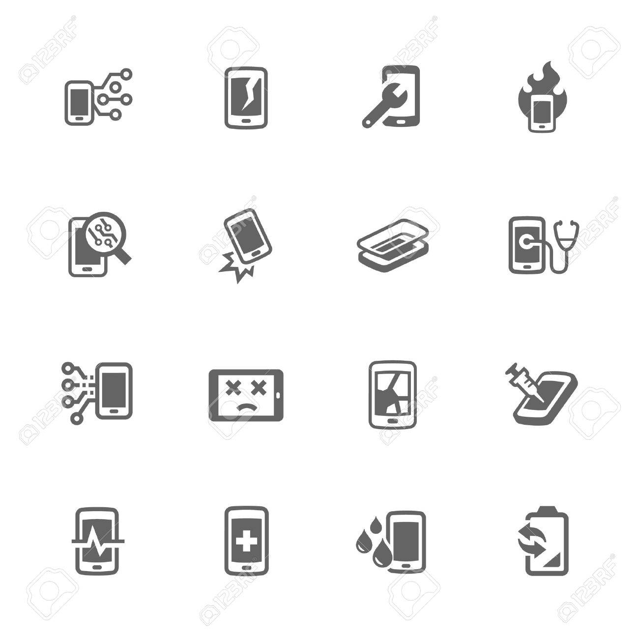Simple Set of Smart Phone Repair Related Icons. Contains Such Icons as Screen Crack, Protective Glass, Battery Replacement, Diagnose and More. - 57800322