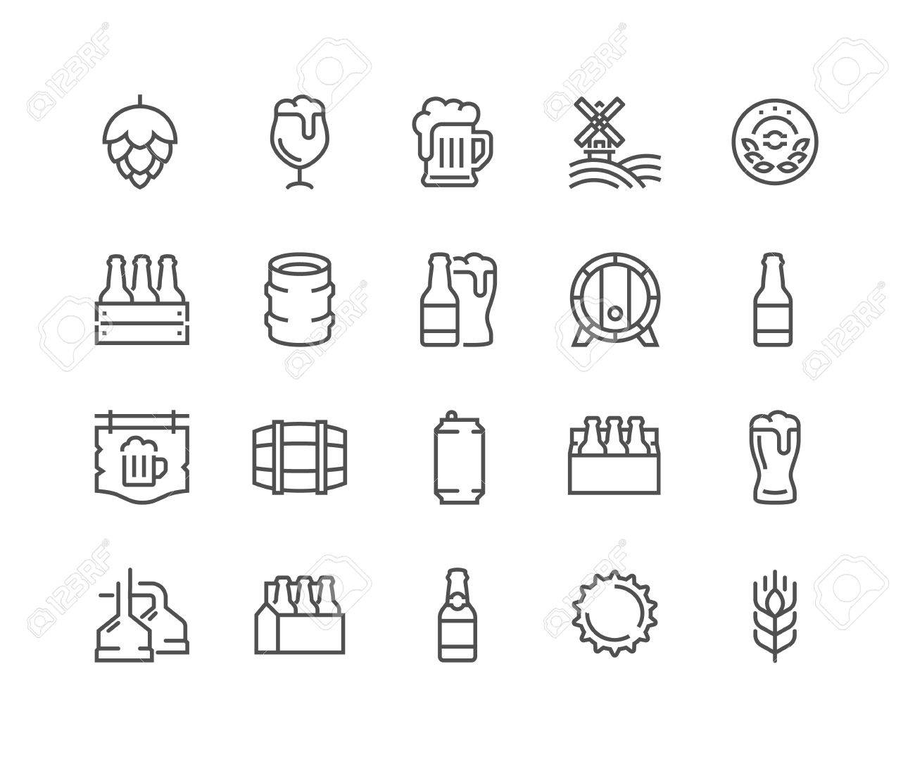 Simple Set of Beer Related Vector Line Icons. Contains such Icons as Barrel, Six-pack, Keg, Signboard, Mug, and more. Editable Stroke. 48x48 Pixel Perfect. - 59194870