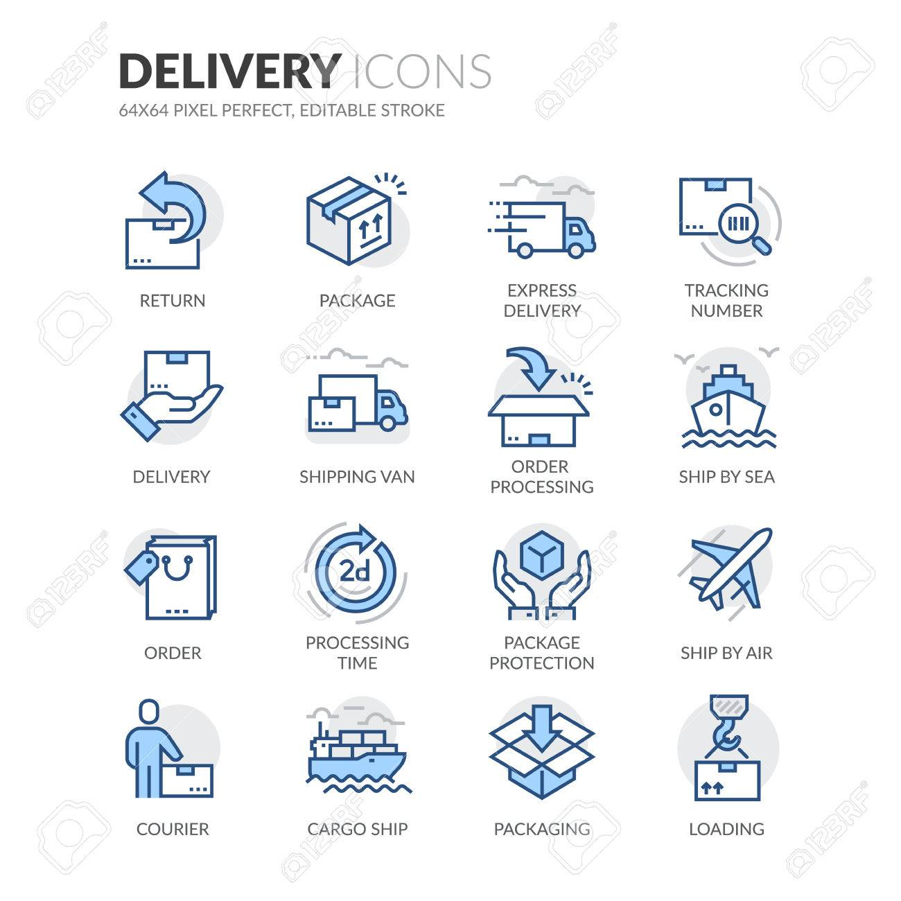 Simple Set of Delivery Related Color Vector Line Icons. Contains such Icons as Loading, Express Delivery, Tracking Number Search, Cargo Ship and more. Editable Stroke. 64x64 Pixel Perfect. - 59194883