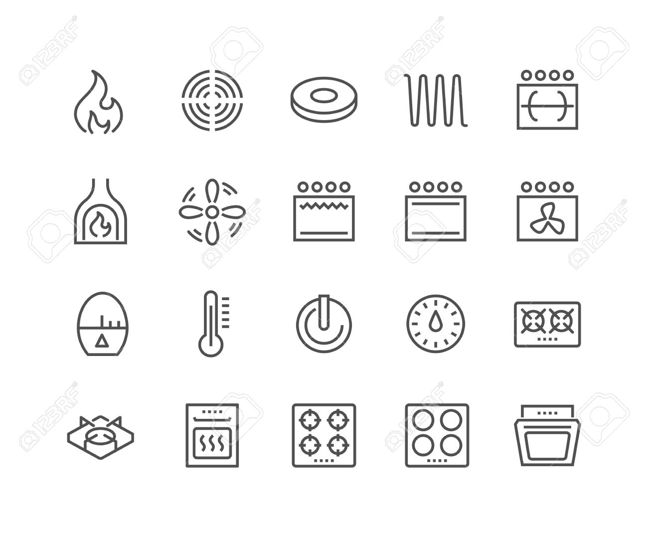 Simple Set of Stove Related Line Icons. Contains such Icons as Timer, Heat, Gas, Induction, Electrical Stove and more. Editable Stroke. 48x48 Pixel Perfect. - 60231350