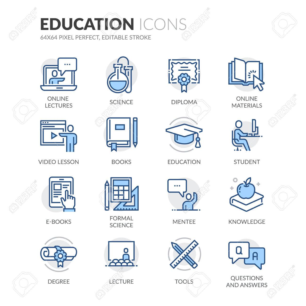 Einfache Set Of Education Related Farbe Vector Linie Icons. Enthält ...