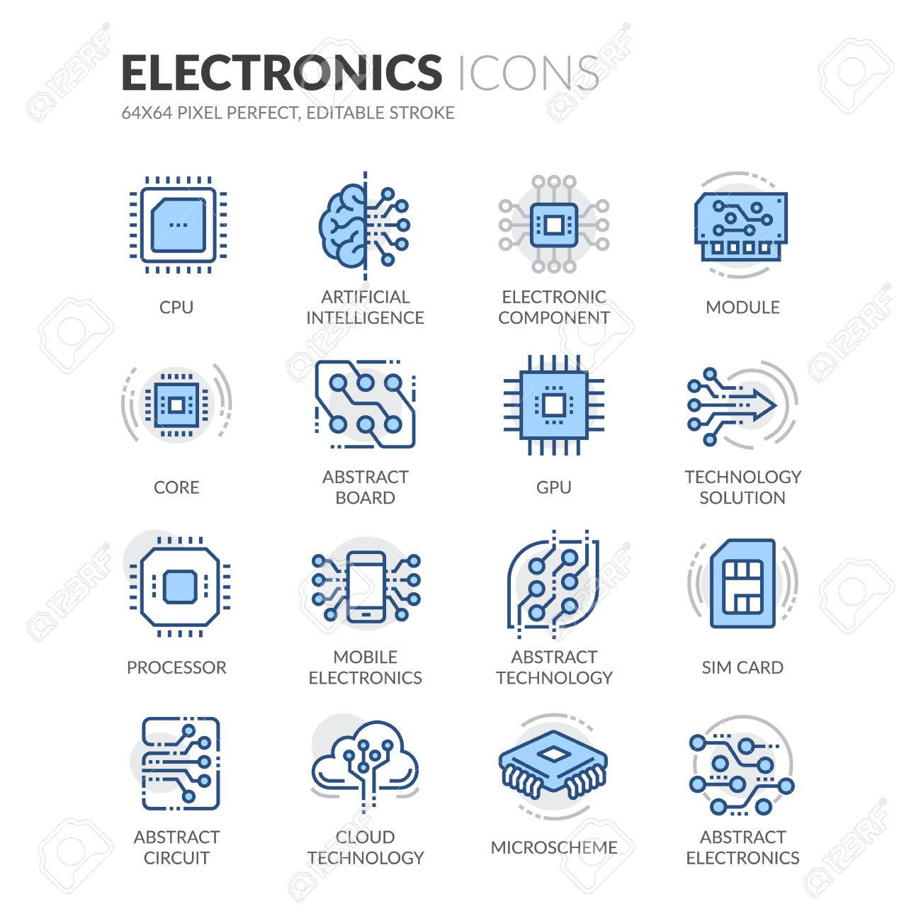 Simple Set of Electronics Related Color Vector Line Icons. Contains such Icons as CPU, Artificial Intelligence, Sim Card and more. Editable Stroke. 64x64 Pixel Perfect. - 61777312